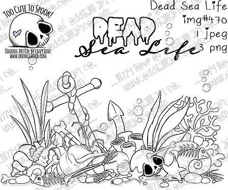 Digi Stamp Creepy Cute Under the Sea Bed Dead Sea Life Image No 470