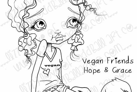 Digital Printable Stamp Girl & Kitten Vegan Friends Hope & Grace Image No. 20