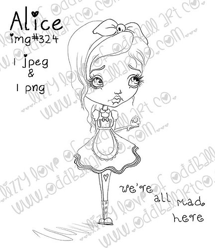 Digital Stamp Whimsical Big Eye Alice In Wonderland Alice Image No.324