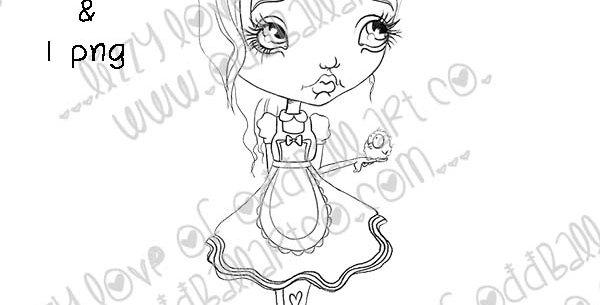 Digital Stamp Whimsical Big Eye Alice In Wonderland Alice Image No.324