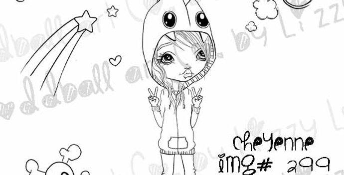 Digital Stamp Cute Big Eye Girl In Monster Hood Cheyenne Image No. 299