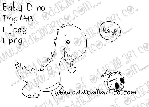 Digital Stamp Cute Whimsical Dino ~ Baby D-no Image No. 413