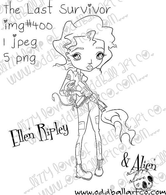 Digital Stamp Big Eye Sci-Fi Girl Ellen & Baby Alien Ripley ~ Image No. 400