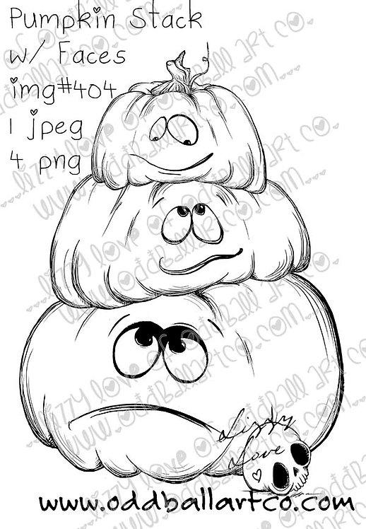 Digital Stamp Whimsical Halloween ~ Pumpkin Stack with Faces Image No. 404