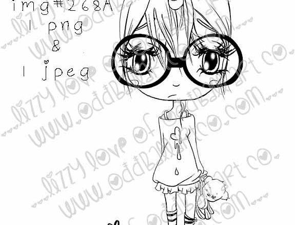 Digital Stamp Kawaii Unicorn Girl Chibi Jaz So Sweet & Sour Image No. 268