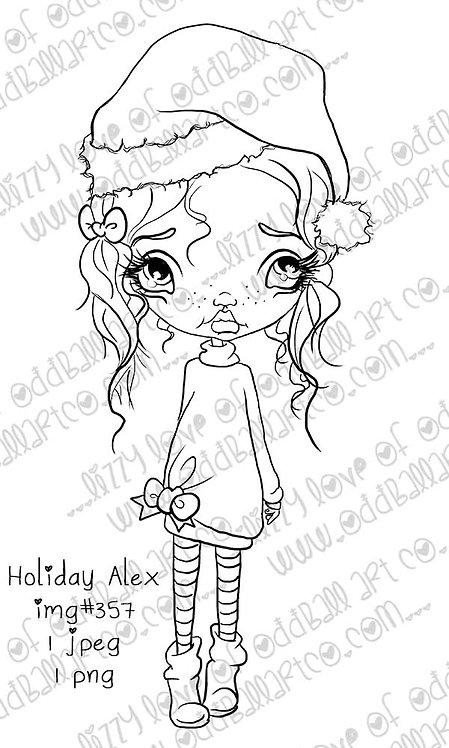 Digital Stamp Kawaii Big Eye Alex at Christmas Holiday Alex Image No.357