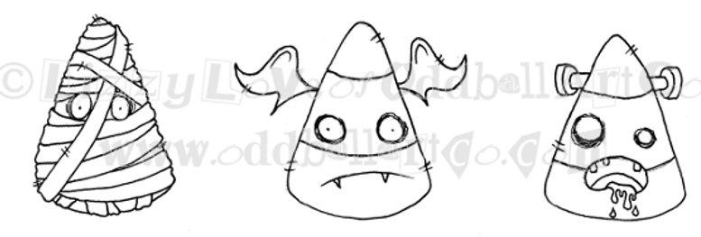 Digi Stamp Creepy Cute Halloween Candy Corn Img# 106