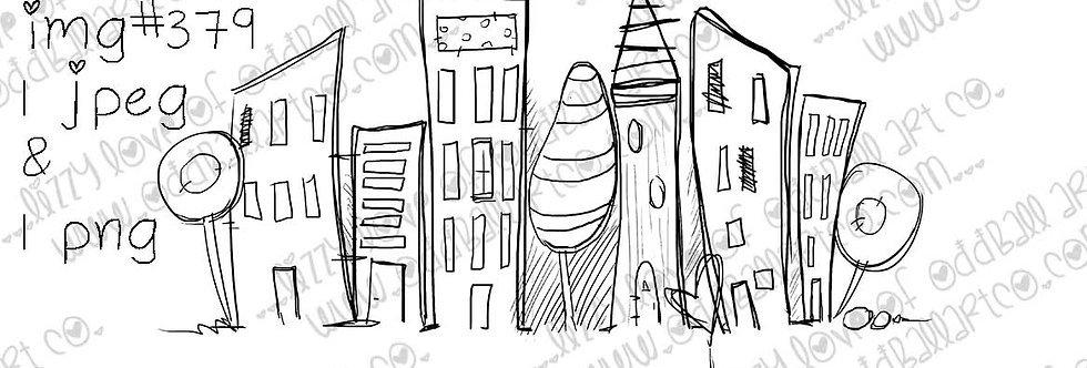 Digi Stamp Whimsical Hand drawn Cityscape City of Love Image No. 379