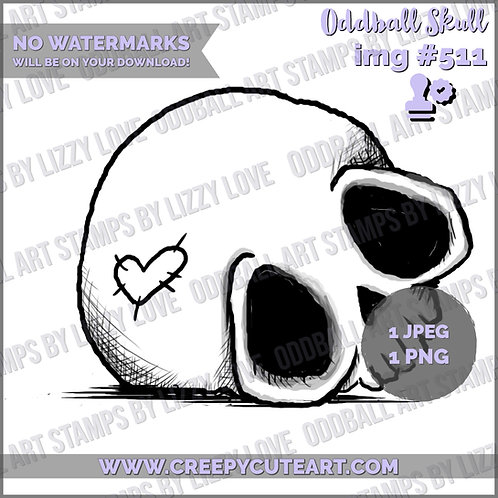 Digi Stamp Creepy Cute Oddball Skull Image# 511