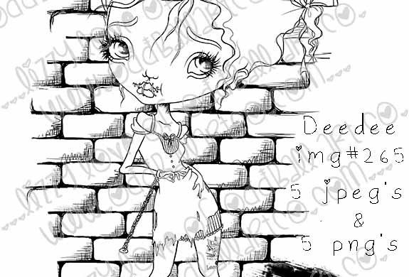Digital Stamp Creepy Cute Girl in Chains Deedee  Image No. 265