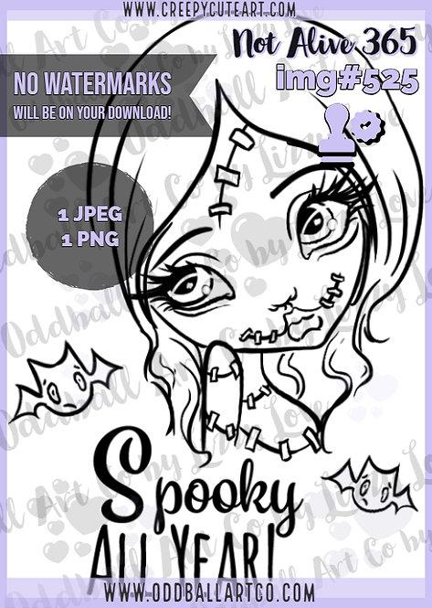 Digi Stamp Creepy Cute Big Eye Girl Zombie Not Alive 365 Image 525