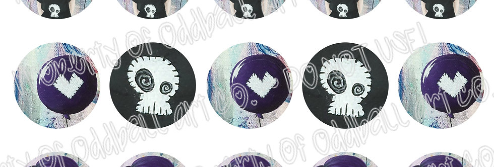 Bottlecap Images Digital Collage Sheet 1 Inch Circles ~ Don't Pop My Heart