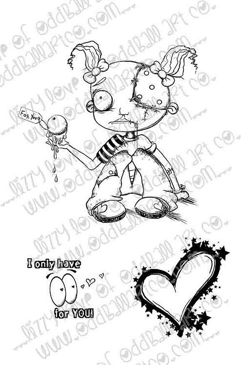 Digital Stamp Creepy Cute Gracy Gross Face Image No. 223