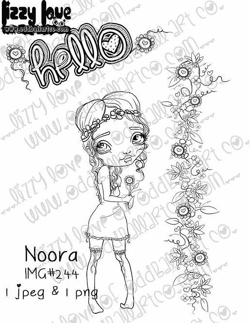 Digital Stamp Whimsical Big Eye Flower Girl Noora Image No. 244