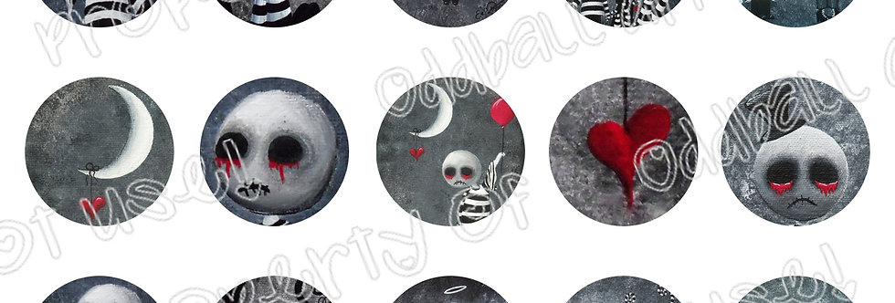 Bottlecap Images Digital Collage Sheet 1 Inch Circles ~ Big Juicy Tears of... 1