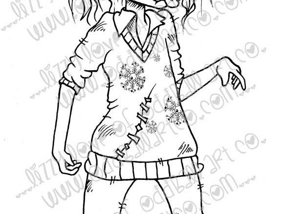 Printable Stamp Creepy Cute Christmas Here Comes Zombigale Image No 142