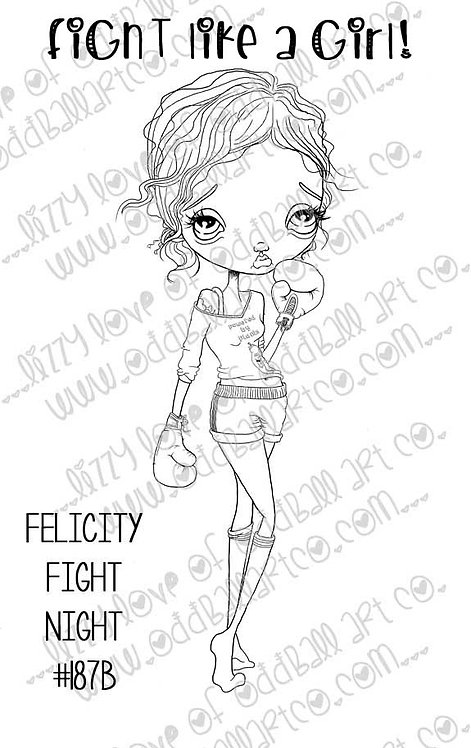 Digital Stamp Big Eye Vegan Boxer Girl Fight Like A Girl Felicity Image No. 187