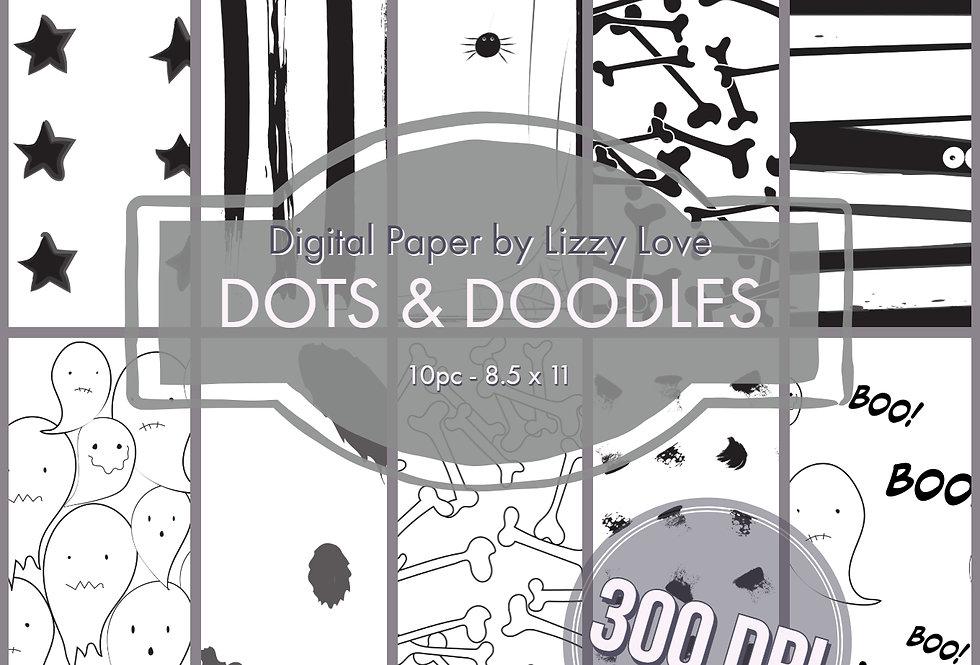 "Digital Paper 10pc Dots & Doodles 8.5"" x 11"" 300dpi by Lizzy Love"