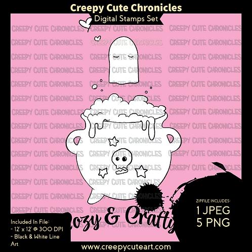 CCC# 137 COZY & CRAFTY DIGI STAMP Creepy Cute Chronicles