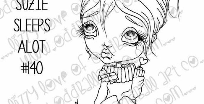 Printable Stamp Kawaii Girl Sissy & Suzie Sleeps Alot Download Image No 140
