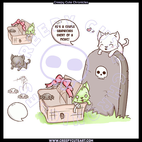 CCC# 149 PRE-COLORED HAUNTED PICNIC DIGI STAMP Creepy Cute Chronicles