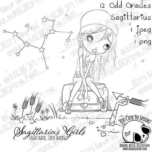 Digi Stamp Twisted Circus 12 Odd Oracles Sagittarius Creepy Cute Zodiac # 486