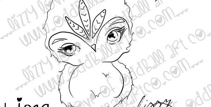 Big Eye Owl Digital Stamp - Sweetie Pie Image No.394