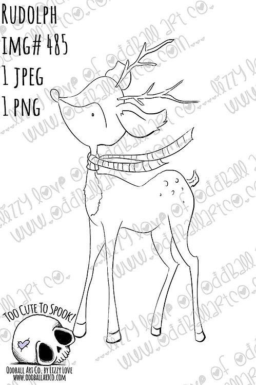 Digi Stamp Rudolph Cute Reindeer Christmas Image No. 485