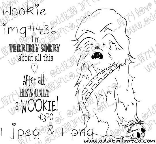 Digital Stamp Cute Wookie Chewbacca Image No. 436