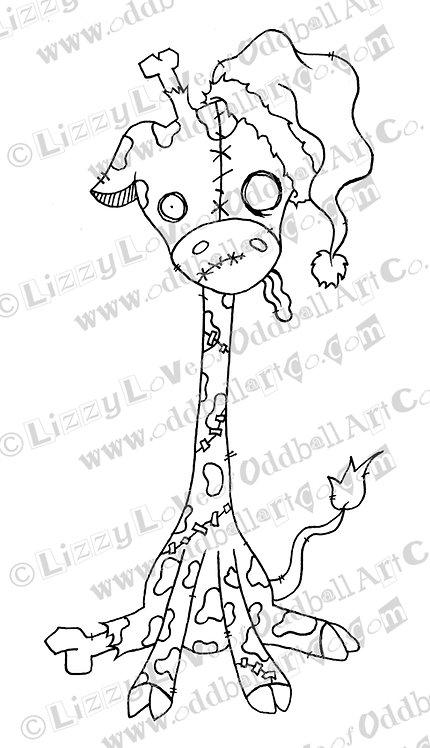 Digital Stamp Creepy Cute Zombie Giraffe Spookison Claws Image No 146