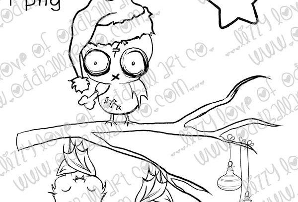 Digital Stamp Creepy Cute Christmas Zombie Owl & Bats Image No. 416