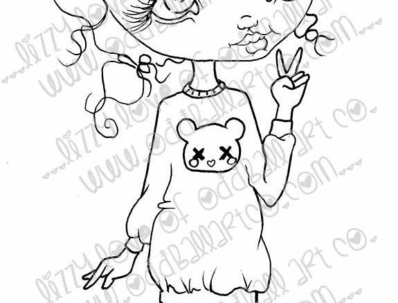 Digital Download Printable Stamp Cute Big Eye Girl Bessy Image No. 8