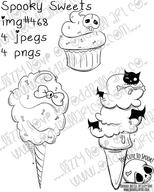 Digi Stamp Spooky Sweets Cotton Candy Cupcake Icecream Image No 468