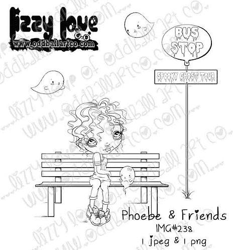 Digital Stamp Creepy Cute Kawaii Bus Stop Phoebe & Friends Image No. 238