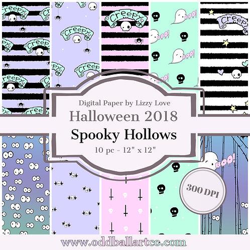 "Digital Paper Halloween 2018 10pc Spooky Hollows 12"" x 12"" 300dpi by Lizzy Love"