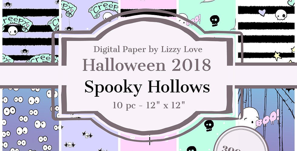 "Digital Paper Halloween 2018 10pc Spooky Hollows 12"" x 12"" 300dpi by Lizzy Love"