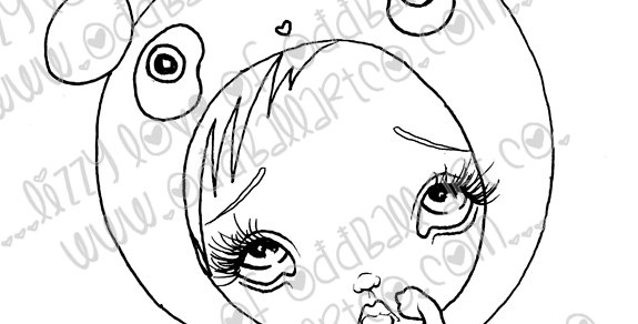 Digital Stamp Cute Big Eye Panda Girl Peanut Image No. 72