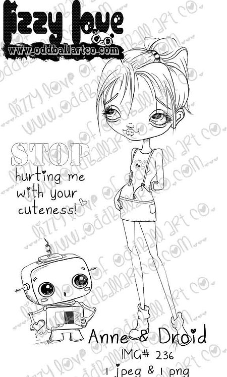 Digital Stamp Cute Big Eye Girl & Robot Anne & Droid Image No.236