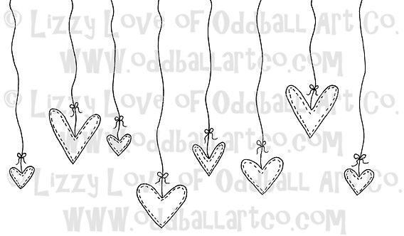 Digital Stamp Kawaii Hanging Hearts Image No. 26