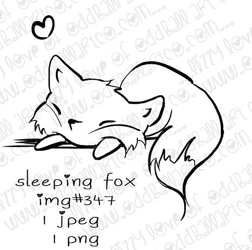 Digital Stamp Sweetly Sleeping Animals Sleeping Fox Image No.347