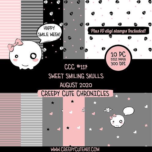 CCC# 117 SWEET SMILING SKULLS DIGI STAMP Creepy Cute Chronicle