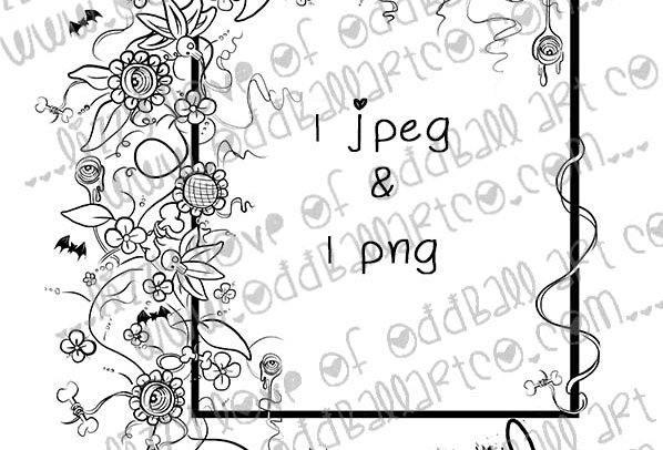 Digital Stamp Creepy Cute Eyeball & Bones Flower Frame Image No. 334