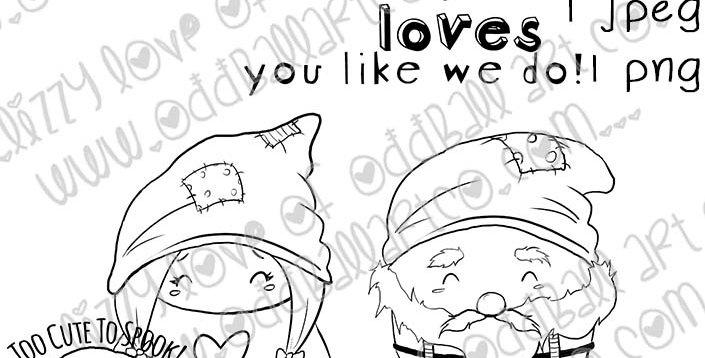 Digital Download Printable Stamp Creepy Cute Ol' Gnome Love Image No 463