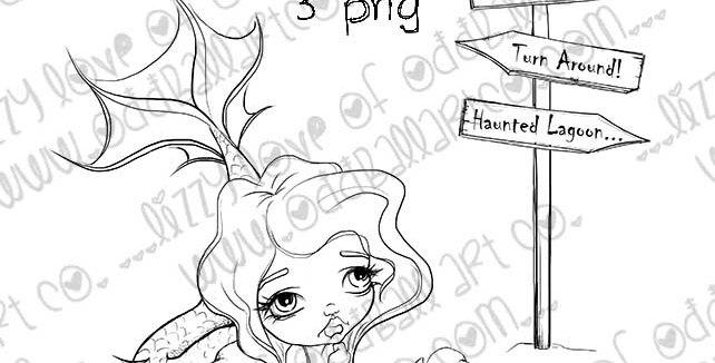 Digi Stamp Big Eye Art Kawaii Creepy Cute Haunted Mermaid Image No. 378
