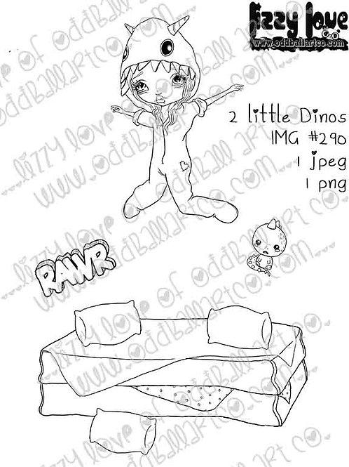 Digital Stamp Kawaii Dino Girl Jumping On The Bed Image No. 290
