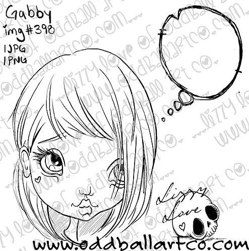 "Digital Stamp Big Eye Girl ""Say What You Want"" ~ Gabby Image No. 398"