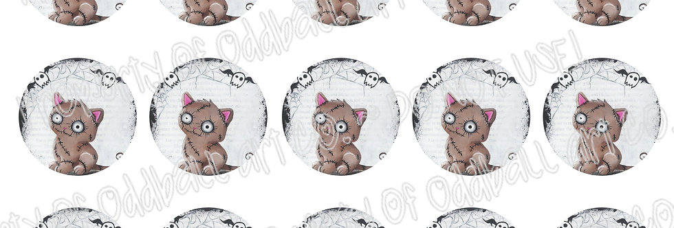 Bottlecap Images Digital Collage Sheet 1 Inch Circles ~ Zombie Kitty