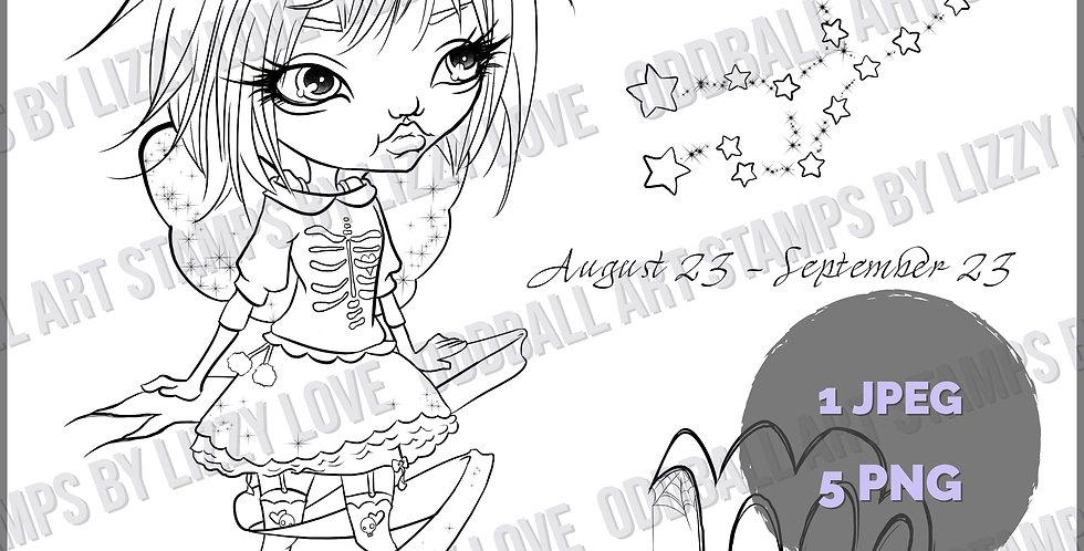 Digi Stamp Twisted Circus Zodiac Series 12 Odd Oracles ~ Virgo Girl Image # 513