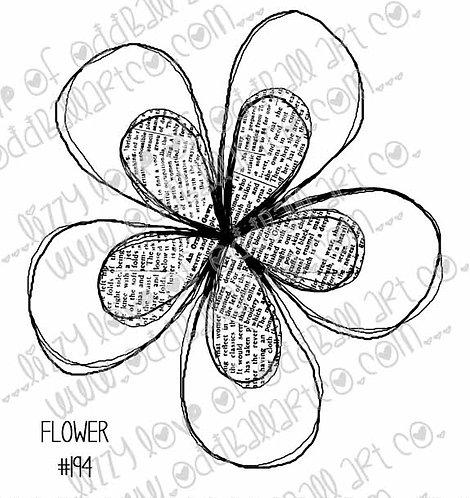 Printable Stamp Newsprint Flower Digital Download Image No 194
