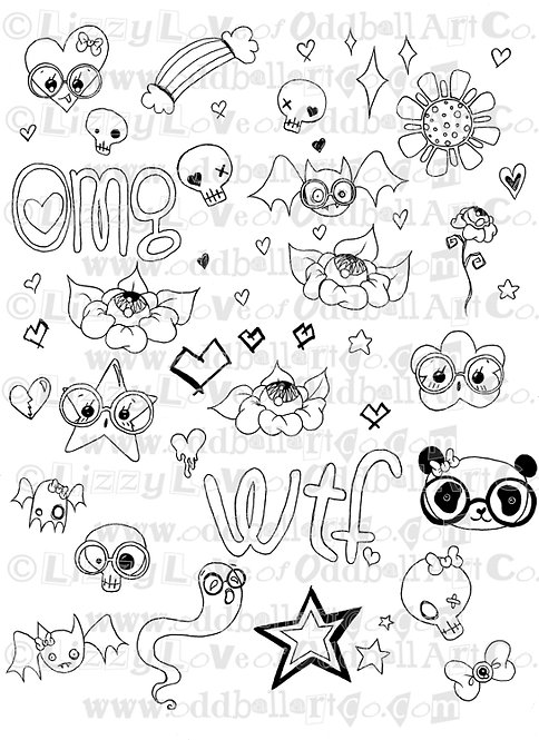 Digi Stamp Creepy Cute Doodle Collage Sheet Img# 107